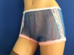 50-60er Style Blau Nylon PIN UP Höschen Small