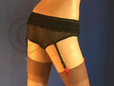 Vintage Pin Up Style Suspender Panty Blk/Red Brief