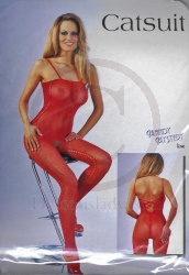 Net Catsuit Open Crotch Red