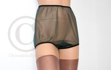 Legsware Pin-Up Style Dark Green Sheer Nylon Panty Slip