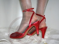Beautiful Red Shoes with glitter sparkle finish