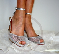 Beautiful Silver Shoes with glitter sparkle finish