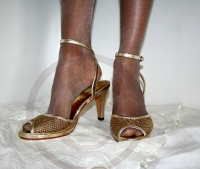 Beautiful Gold Shoes with glitter sparkle finish